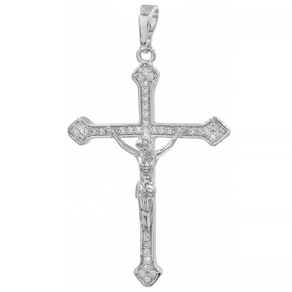 Подвеска Крест с распятием родиум 3,2 см (Медицинское золото)