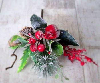 Новогодний мини букетик 20 см, Яблоко, ягоды