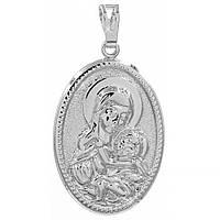 Подвеска Ладанка Богородица родиум 3*2,2 см (Медицинское золото)