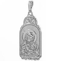 Подвеска Ладанка Богородица родиум 3,5*1,8 см (Медицинское золото)