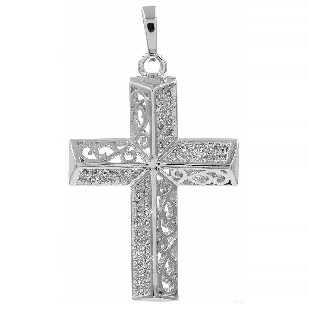 Подвеска Крестик белое золото 3,3 см (Медицинское золото)