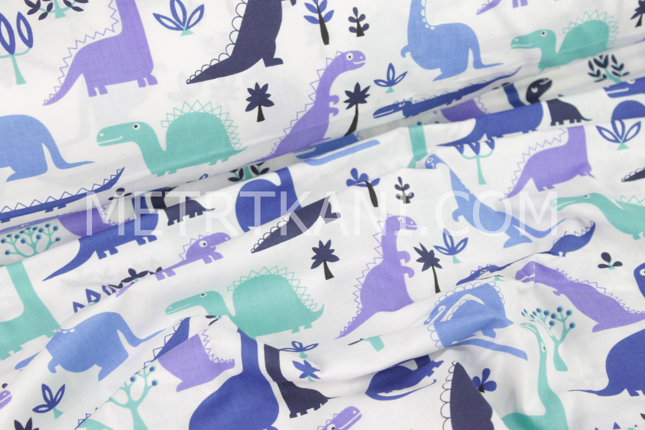 Ткань бязь динозавры  мятно-синие №343