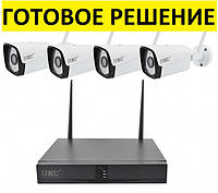 Комплект видеонаблюдения беспроводной DVR KIT CAD Full HD UKC 8004 WiFi 4ch набор на 4 камеры, фото 1