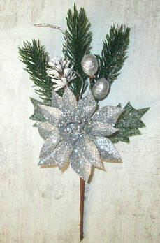 Новогодний букетик 24 см, Пуансетия серебро