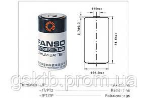 Литиевая батарея ER34615H-T 3,6В 20000 мАч, D Size, Li-SOCl2 с лепестками, фото 2