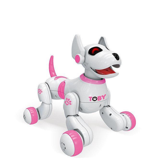 Собака-робот, на радиоуправлении Toby (8205) интерактивная, цвет: белый с розовым