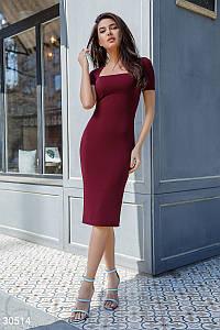 Сдержанное платье миди короткий рукав цвет бордовый