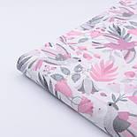 """Ткань хлопковая """"Цветы колокольчики и колибри"""" серо-розового цвета на белом (№2427а), фото 5"""