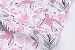 """Ткань хлопковая """"Цветы колокольчики и колибри"""" серо-розового цвета на белом (№2427а), фото 4"""