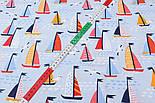 "Ткань хлопковая ""Парусники на волнах и чайки"" на голубом  №2426а, фото 5"