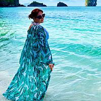 Размер 46. Пляжное женское парео с пальмовыми листьями, зеленый халатик для пляжа