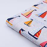 """Ткань хлопковая """"Парусники на волнах и чайки"""" на светло-сером  №2425а, фото 5"""