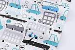 """Бязь польская """"Бирюзово-серые и голубые автобусы и машины"""" на белом фоне (2424), фото 3"""