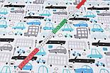 """Бязь польская """"Бирюзово-серые и голубые автобусы и машины"""" на белом фоне (2424), фото 4"""