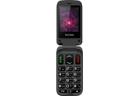 Мобильный телефон раскладушка для пожилых людей с дополнительным экраном на 2 сим карты Nomi i2400 черный