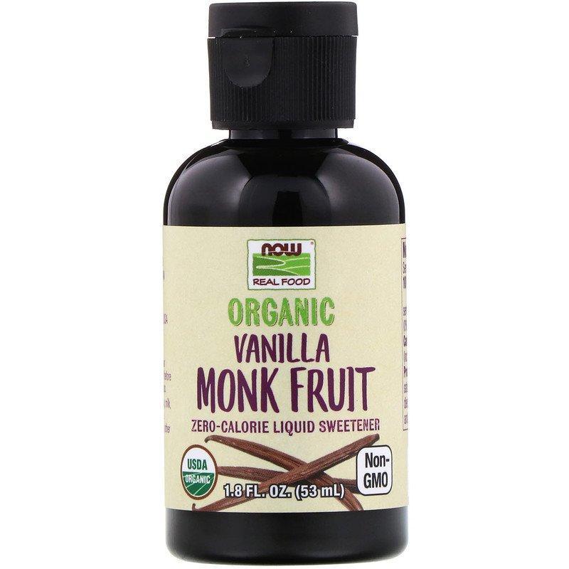 """Жидкий подсластитель архат NOW Foods """"Organic Vanilla Monk Fruit"""" со вкусом ванили (53 мл)"""