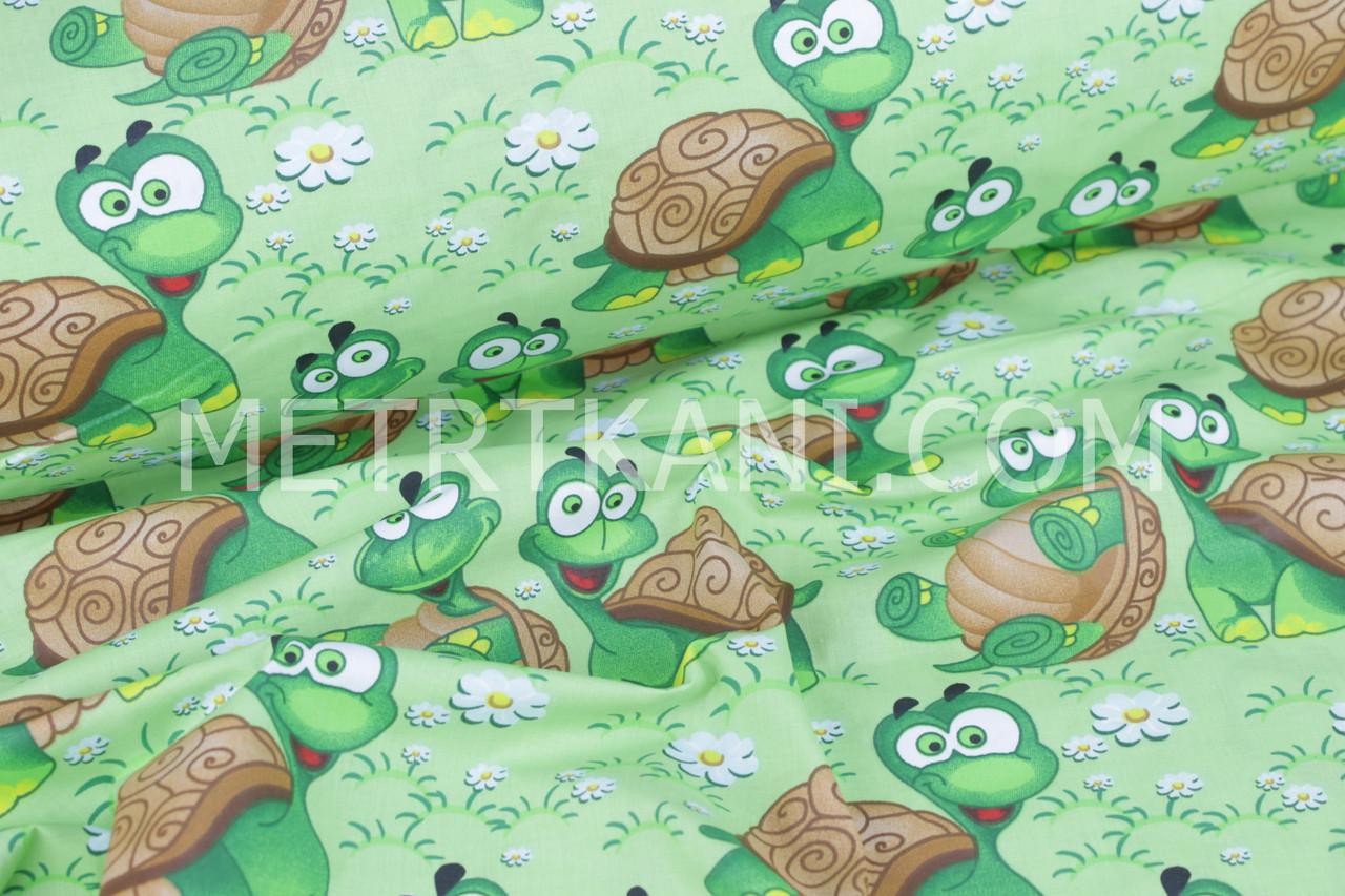 Хлопковая ткань  веселые черепахи с ромашками №894