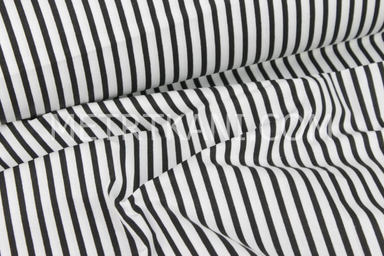 Бавовняна тканина з чорною смужкою на білому тлі,135 (г/м2) №348