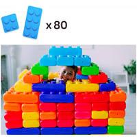 Конструктор из больших блоков 2 видов (80шт) MEGA напольный, фото 1