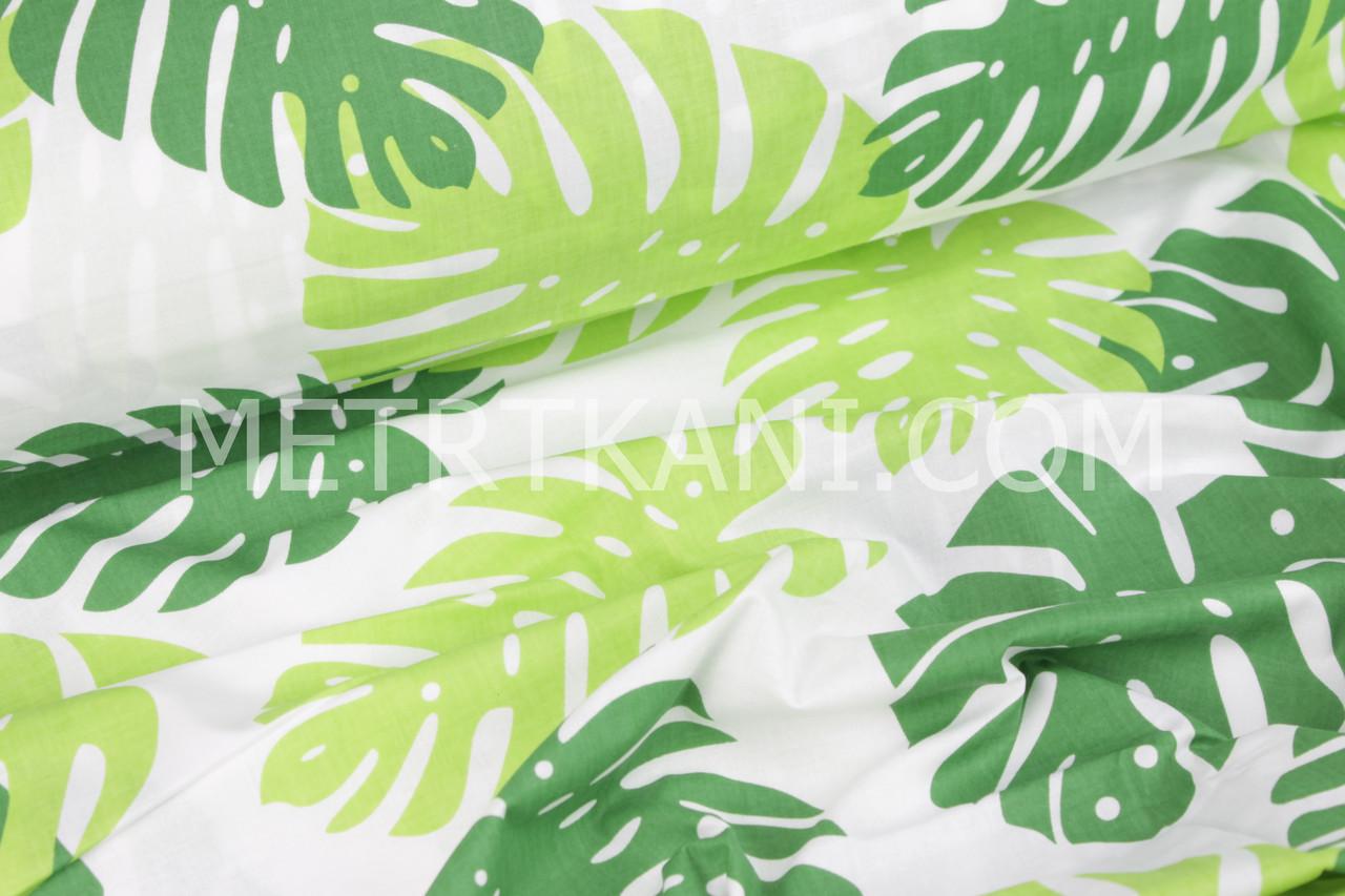 """Ткань хлопковая """"Пальмовые листья"""" на белом фоне  125 /кв.м.  №1087"""