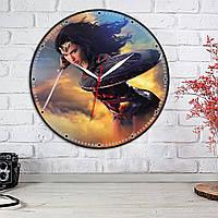 Удивительная Женщина Часы Wonder Woman Часы настенные Часы с тихим кварцовым механизмом Часы стикеры 30 см