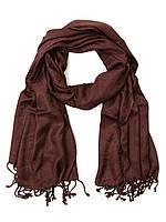 Шарф - шаль, вискоза, коричневая с огурцами