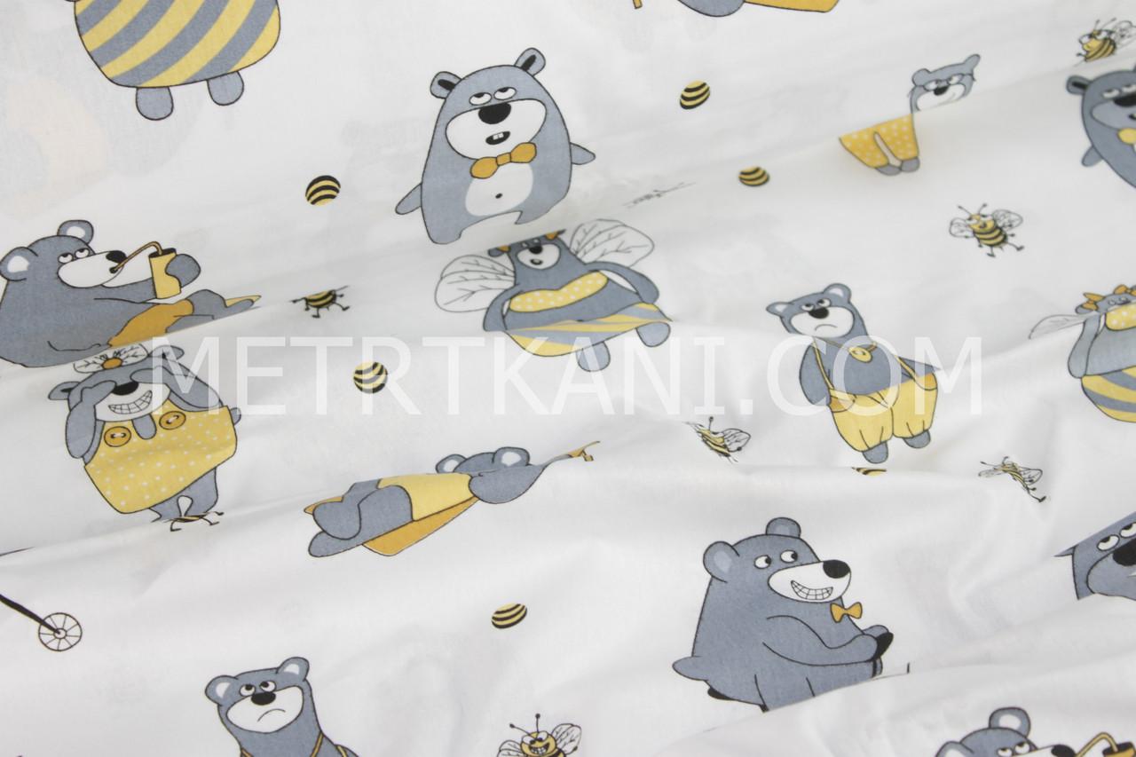 """Бязь хлопковая """"Мишки с пчелками желто-серые"""" на белом фоне №992"""