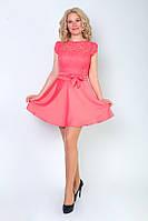 Нарядное платье из шелка и и стрейч гипюра
