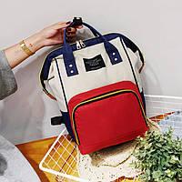 Женский рюкзак-сумка синий с красным стильный из ткани опт, фото 1