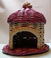 Чайний будиночок рожевий 15х15 см декоративний ручної роботи