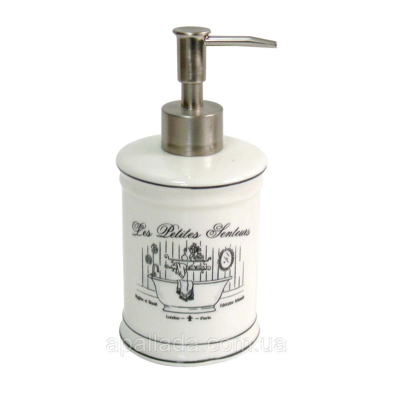 Диспенсер фарфоровий для рідкого мила/лосьйону,18*8см.