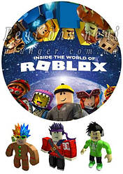 "Вафельна картинка для торта ""Roblox"", кругла, (аркуш А4)"