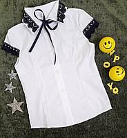 Блузка с коротким рукавом, р. 6, 7, 8, 9 лет, белый+темно синий, фото 1