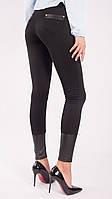 Лосины женские черные с кожаными вставками, фото 1