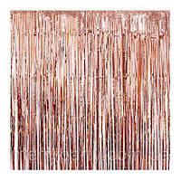 Шторка занавес из фольги сатин розовое золото 1х2 метра