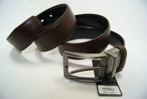 Ремень мужской кожаный двухсторонний (черно-коричневый) ALON