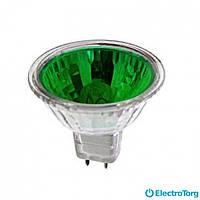 Лампа галогеновая JCDR 50 Вт зеленая Delux