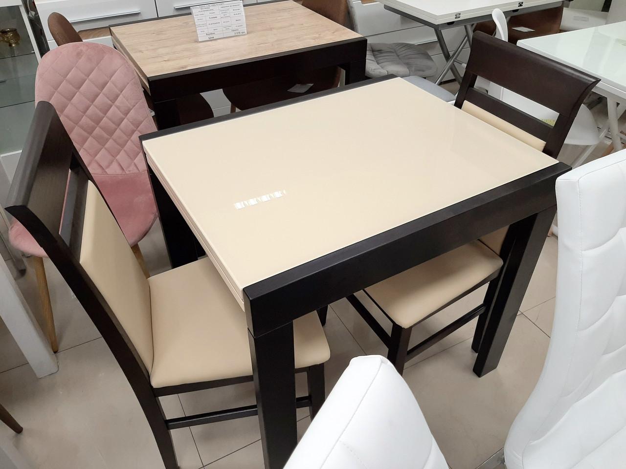 Стеклянный стол на кухню  Слайдер + стекло Fn, цвет на выбор