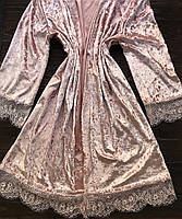 Женский халат бархат L-XL  пудра