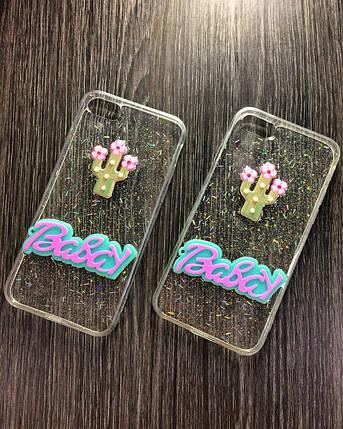 Силиконовый чехол Babay для iPhone 7 Plus / 8 Plus Прозрачный с кактусом, фото 2