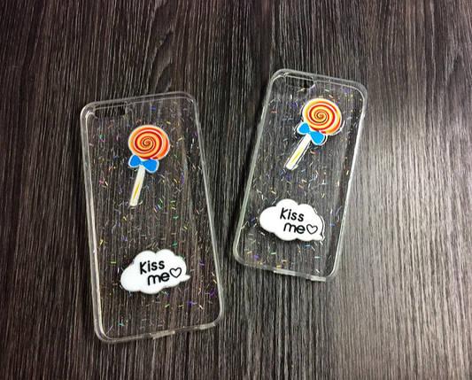Силиконовый чехол Kiss me для iPhone 7 Plus / 8 Plus Прозрачный с леденецом, фото 2