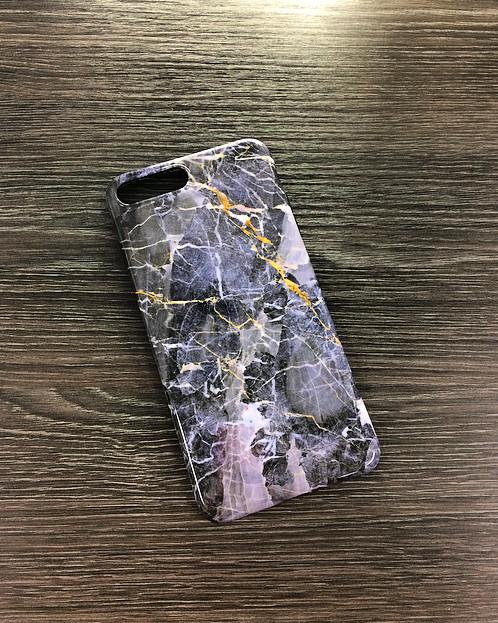 Силиконовый чехол для iPhone 7 Plus / 8 Plus Черный мрамор