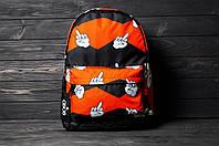 Рюкзак оранжевого цвета с большим внешним карманом на молнии принт фак