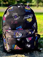 Рюкзак черный с большим внешним карманом на молнии принт пицца