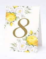 """Номер на свадебный стол двусторонний (домиком) """"Желтые цветы"""""""