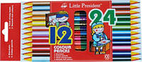 Карандаши цветные двухсторонние 24 цвета Lіttle Presіdent