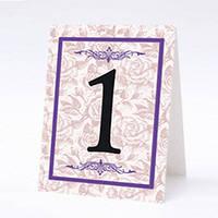Номер на свадебный стол двусторонний (домиком). Ажурный, фиолетовый