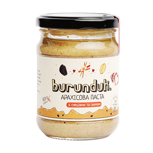 Арахісова паста зi спецiями та родзинками (масло) Burunduk 250 грамм Украина