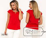 Блуза прямого кроя из софта с короткими рукавами, круглым вырезом и не съемным украшением на декольте,10цветов, фото 5