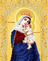 """Схема для вышивки бисером на атласе икона """"Богородица Отчаянных Единая Надежда"""" (золото)"""